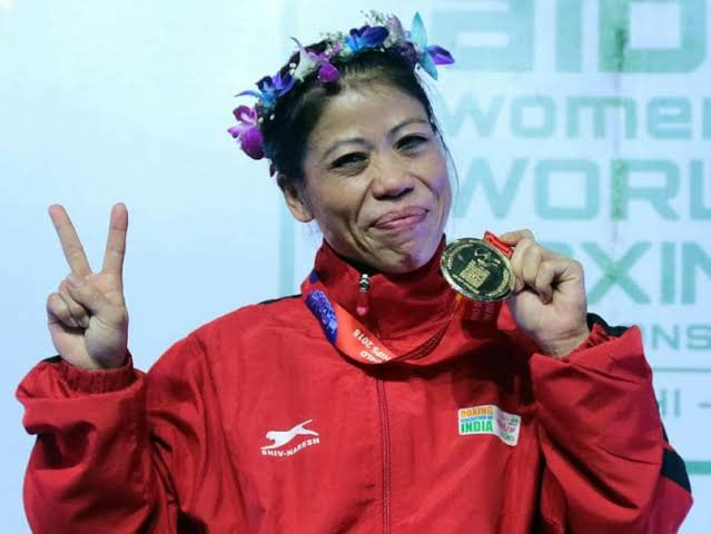 Mary Kom with her Gold