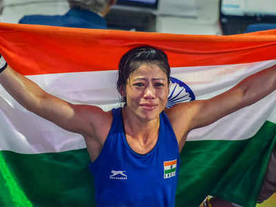 Mary Kom after winning her 6th world championship