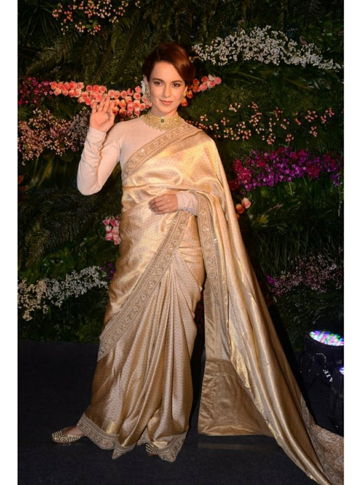 Kangana Ranaut in gold kanjivaram saree