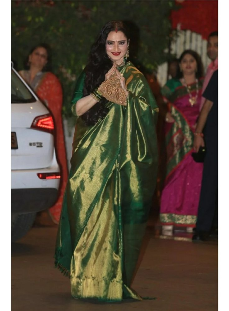 Rekha ji in green kanchipuram saree
