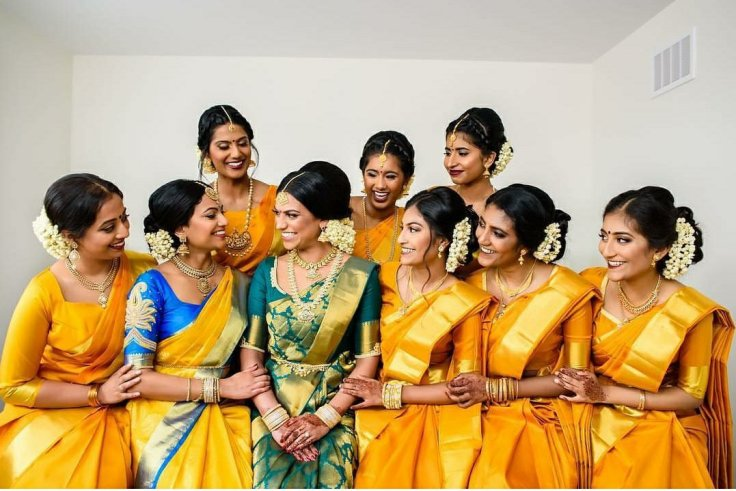 Bridesmaid dress to perfection in Kanchipuram saree